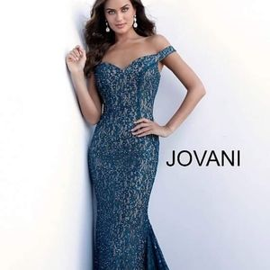 Jovani Mermaid Peacock Pageant Prom Dress Size 6